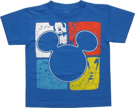 Mickey Mouse Squares Silhouette Juvenile T-Shirt