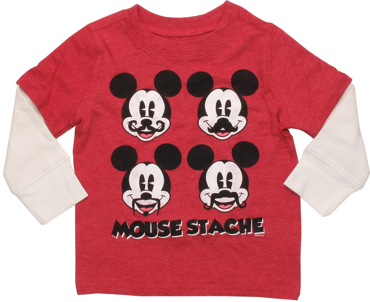mickey mouse mickey mouse staches long sleeve infant t shirt. Black Bedroom Furniture Sets. Home Design Ideas