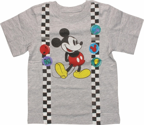 Mickey Mouse Suspenders and Pins Toddler T-Shirt