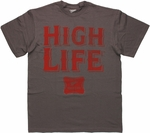 Miller High Life Words Charcoal T Shirt
