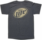 Miller Lite Black and White Logo Navy T Shirt Sheer