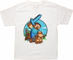 Minecraft Pig Ride Youth T Shirt