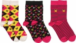 Minecraft Pink Yellow Black 3 Pair Socks Set
