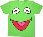 Muppets Kermit Face Lt Green T Shirt Sheer