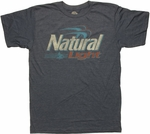 Natural Light Logo Heather Blue T Shirt Sheer