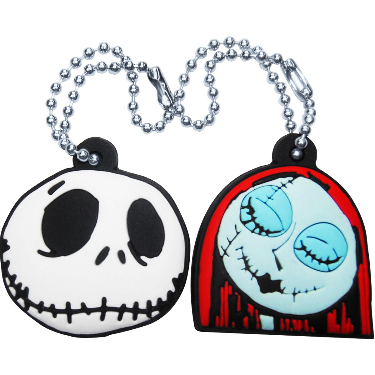 nightmare before christmas jack sally key cap keychain set