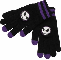 Nightmare Before Christmas Purple Stripe Touch Gloves