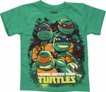 Ninja Turtles Group Busts Juvenile T Shirt