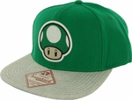 Nintendo 1up Mushroom Green Gray Hat