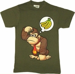 Nintendo Donkey Kong Thought Olive T Shirt Sheer
