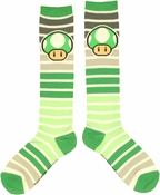 Nintendo Striped Green Mushroom Socks