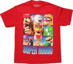 Nintendo Super Mario Character Grid Youth T Shirt
