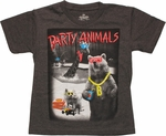 Party Animals Heather Charcoal Juvenile T Shirt