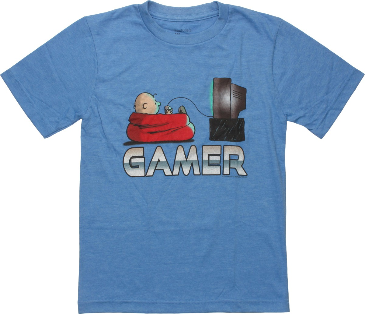 cartoons peanuts peanuts charlie brown gamer youth t shirt. Black Bedroom Furniture Sets. Home Design Ideas