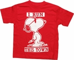 Peanuts Run Town Red Juvenile T Shirt