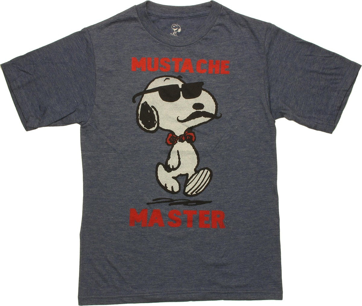 cartoons peanuts peanuts snoopy mustache master youth t shirt. Black Bedroom Furniture Sets. Home Design Ideas