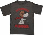 Peanuts Snoopy Wingman Gray Youth T Shirt