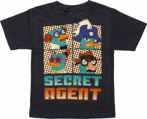 Phineas and Ferb Secret Agent Navy Blue Juvenile T-Shirt
