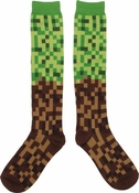 Pixel Brick Green Brown Knee High Socks