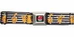 Pokemon Pikachu Black and White Stripes Seatbelt Mesh Belt