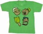 Popeye Faces Juvenile T Shirt