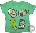 Popeye Faces Toddler T-Shirt