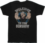 Popeye Welcome Gun Show Black T Shirt Sheer