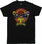 Power Rangers Helmets Circle T Shirt Sheer