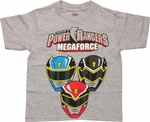 Power Rangers Megaforce Helmets Juvenile T Shirt