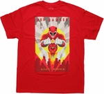 Power Rangers Red Art Deco T Shirt
