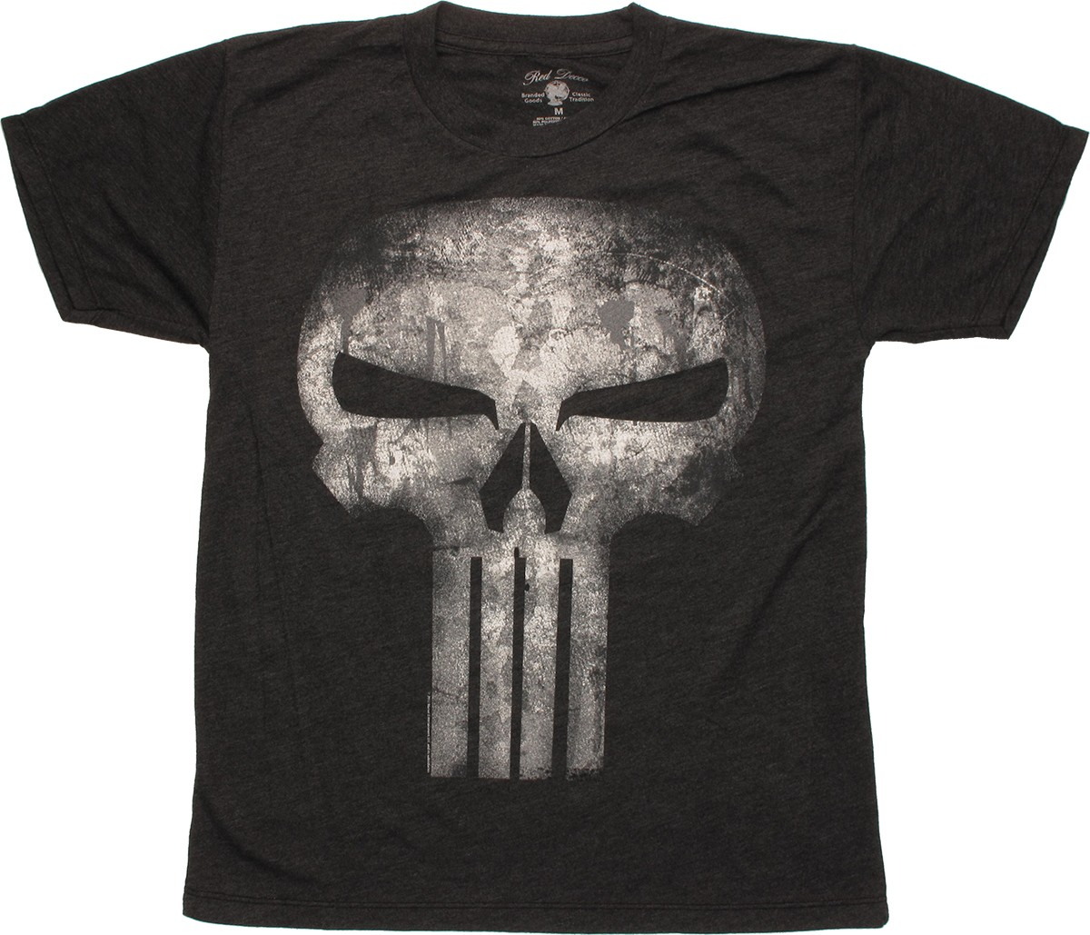 Punisher Distressed Logo Charcoal Youth T Shirt