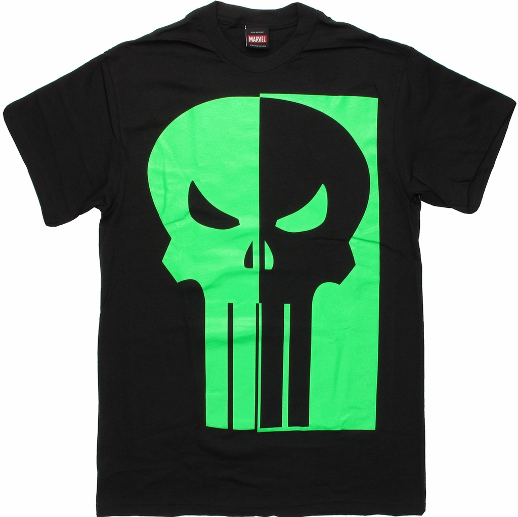 Punisher Half Green Glow Logo T Shirt