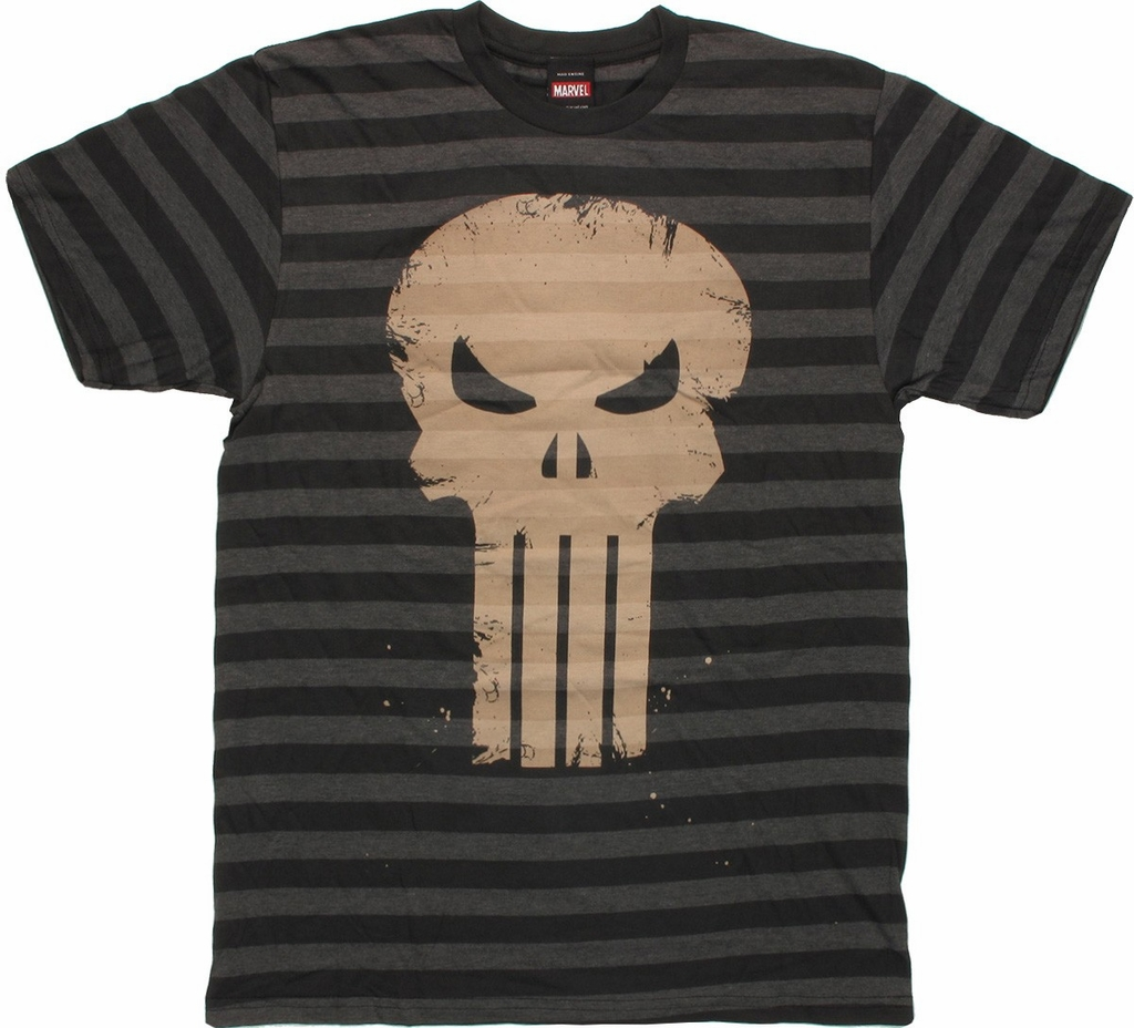 Punisher Stripes Skull T Shirt Sheer