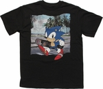 Sonic the Hedgehog Beach Skateboard Youth T Shirt