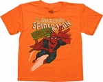 Spiderman Amazing Leap Orange Juvenile T Shirt