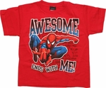 Spiderman Awesome Me Red Juvenile T Shirt