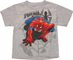 Spiderman Basic Crawly Gray Youth T Shirt