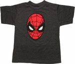 Spiderman Big Face Charcoal Youth T Shirt