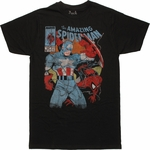 Spiderman Captain America Comic Cover T Shirt Sheer