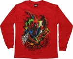 Spiderman Crash Red Long Sleeve Youth T Shirt