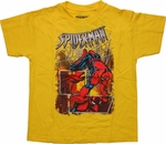 Spiderman Foil Collage Yellow Youth T Shirt