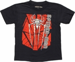 Spiderman Foil Logo Name Juvenile T Shirt