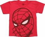 Spiderman Head Off Center Juvenile T Shirt