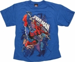 Spiderman Lines Through Blue Youth T Shirt