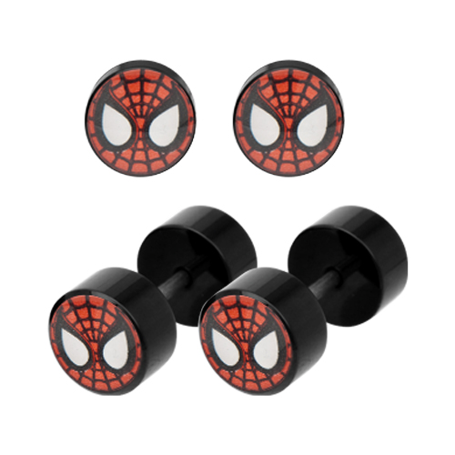 Spiderman Mask Black Acrylic Faux Plug Earrings
