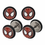 Spiderman Red Mask Steel Faux Plug Earrings