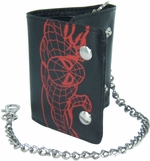 Spiderman Red Sketch Tri-Fold Chain Wallet
