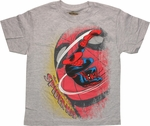 Spiderman Swing Over Face Youth T Shirt
