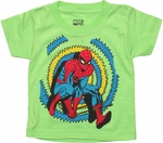 Spiderman Zig Zag Behind Green Toddler T Shirt