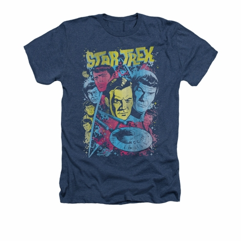 Star Trek Classic Comic Crew Heather T Shirt